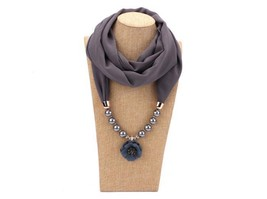 Flower Scarf Necklace Head Scarves Chiffon Beads Women Maxi Gray Color J... - $32.08