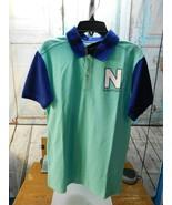 NAUTICA Boys Polo Shirt Sz L Large 14/16 Blue/Green Spellout NWT - $12.86