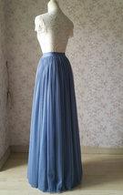 DUSTY BLUE Tulle Maxi Skirt Floor Length Women Tulle Skirt Dusty Blue Bridesmaid image 6