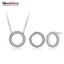 LZESHINE Hot Circle Shape Jewelry Set Silver Color with Sparkling CZ Hea... - $12.55
