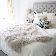 CREAM BEIGE MONGOLIAN FUR  SHEEPSKIN THROW BLANKET BED COVER TAUPE 4x6 1... - £526.18 GBP