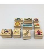 10 Wooden Rubber Stamps Fairy Mushroom Snail Sun Moon Rabbit Stars Lilly... - $12.18