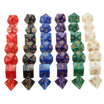 42pcs Multi-sided Polyhedral Digital Acrylic Dice Set 6 Colors w/Carry Bag - $12.11
