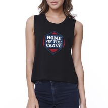 Home Of The Brave Black Cotton Unique Graphic Crop Tee For Women - $14.99