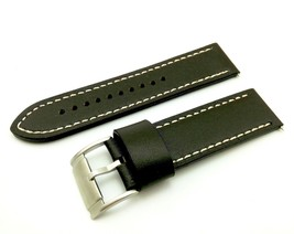 Dark Brown/White Strap/Band for FOSSIL Watch Genuine Leather Silver/Buckle 22mm - $20.00