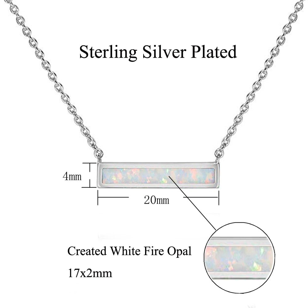 2019 White & Blue Fire Opal Stone Chokers Necklaces & Pendants Silver Plated Squ image 5