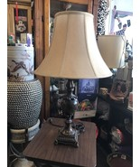 Vintage Table Lamp Brown Metal And Marble Base Local Pick Up Only - $79.23