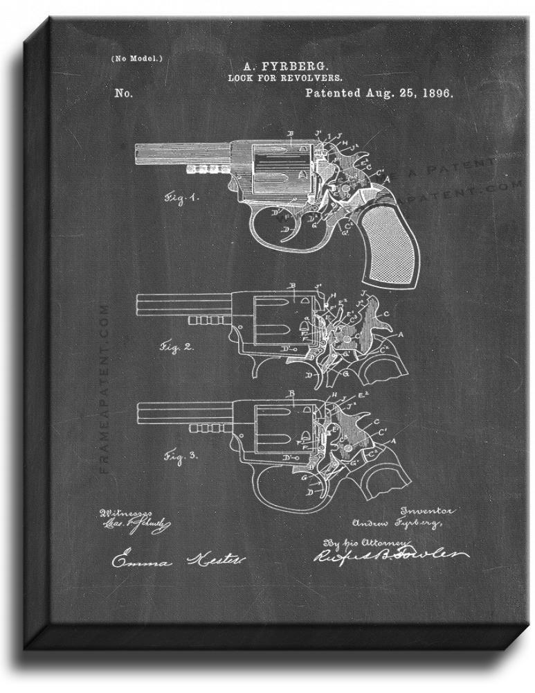 Primary image for Lock For Revolvers Patent Print Chalkboard on Canvas