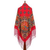 Womens Pavlovo Posad russian shawl 148x148 cm (58x58 inches) 100% dense ... - €93,78 EUR