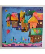 Magic City Original Oil Painting Cats Balloon Fantasy Cityscape Kids Nur... - $140.00