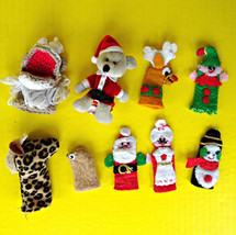 Vintage Lot Finger Puppets Starbucks Hand Made Christmas Animals Pretend... - $9.89