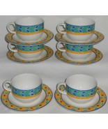 1996 Set (6) Royal Doulton RIO PATTERN Cups/Saucers - $29.69