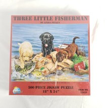 """Three Little Fisherman"" Dogs Laradors 500 Piece Puzzle #52622 New Linda Picken  - $24.74"