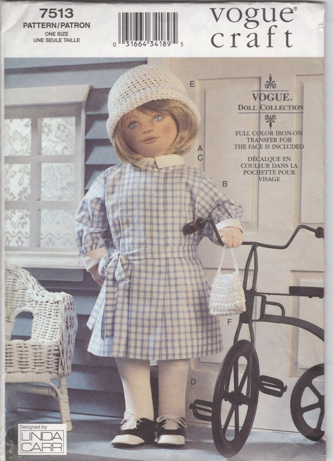 VOGUE CRAFT 7513 18-Inch Linda Carr 1930s Doll Pattern and Dress Partially Cut