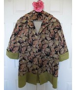 Artsy OOAK Butterfly Print Corduroy Jacket 2X 3X Green Cord Contrast Cus... - $39.99