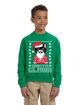 Kids Youth Sweatshirt Santa Claws Cat Ugly Xmas Cute Holiday - $28.94