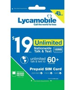 Lycamobile $19 Plan 1st Month Free Triple Cut SIM Card  4G Unlimited Tal... - $9.20