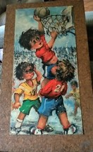 Vintage  Boys Playing Basketball Big Eyes Plaque Handcrafted By Handicapped - $19.99