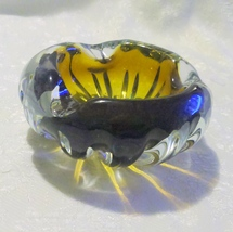 Vintage Murano Glass Italian Artglass Ashtray Brown Clear Swirl - $30.00