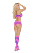 STRIPED BOOTY SHORTS CAMI TOP & KNEE HIGH STOCKINGS New - $16.99