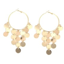 Women Earrings Fashions Coin Dangle Vintage Style Alloy Metal Hoops Closure Type - $8.52
