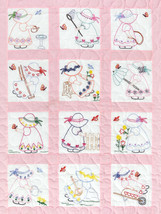 "Jack Dempsey Stamped White Nursery Quilt Blocks 9""X9"" 12/Pkg-Girls - $14.88"