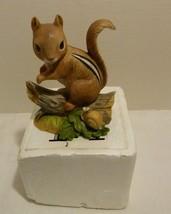 HOMCO Chipmunk & Snail Bisque Porcelain Figurine # 1487 in Box - $13.98