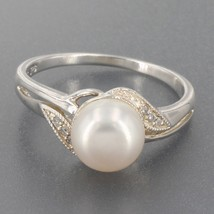 Imperial Pearl Syndicate Sterling Silver 8mm Pearl Diamond Bypass Ring S... - $19.99