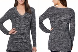 Women's Ellen Tracy Marled Knit V- Neck Long Sleeve Sweater Black Ivory ... - $7.91