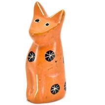 SMOLArt Hand Carved Soapstone Orange Sitting Kitten Cat Figurine Made Kenya image 2
