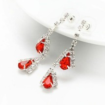 Bridal Jewelry Set Fashion Red Crystal Teardrop Necklace Earring Bride Accessory - $9.99