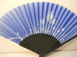 Blue Floral Silk Handheld hand Fan Folding Fans Asian Hand Fan #Fan164 - $9.99
