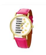 Cute Emoji Girl Rose Red Leather Watches Monday Weekday Sport Women Wris... - $3.99