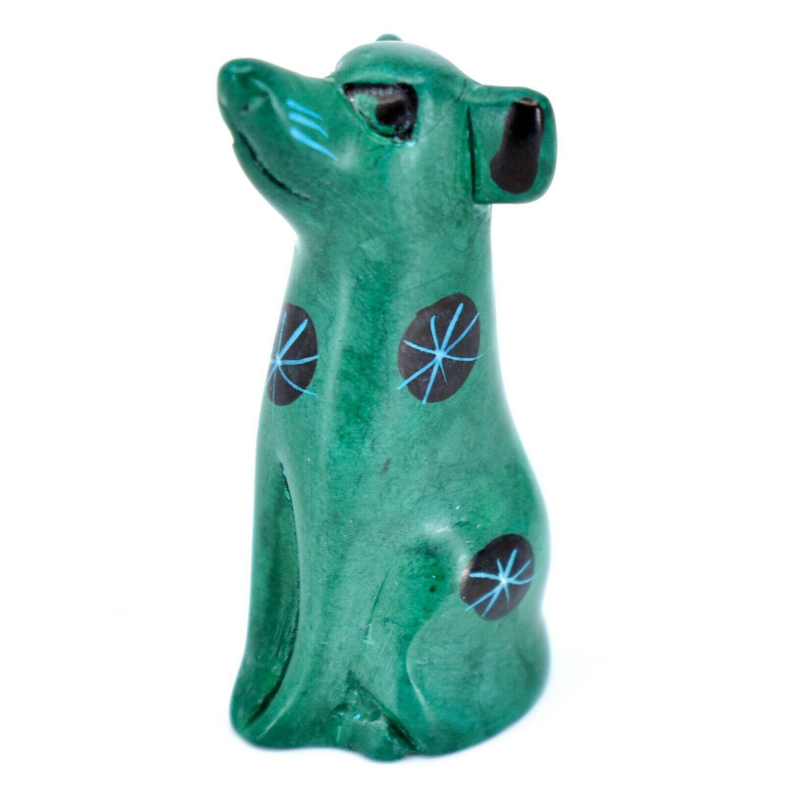 Tabaka Chigware Hand Carved Kisii Soapstone Green Puppy Dog Miniature Figurine