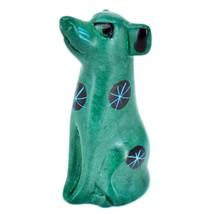 Tabaka Chigware Hand Carved Kisii Soapstone Green Puppy Dog Miniature Figurine image 1