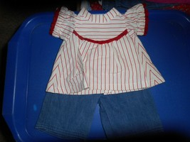 RED,WHITE,AND BURGUNDY TOP-SHIRT W BLUE JEANS OR CROP PANTS/HANDMADE/CUTE - $5.89