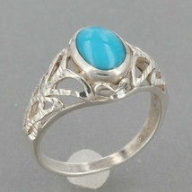 Small Vintage Southwestern Sterling Silver Turquoise Ring Size 3.75 - $9.99