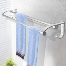 Stainless Steel Towel Rack Hook Wall Mounted Rail Towel Double Shelf Sto... - ₨984.69 INR
