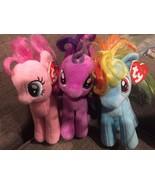 TY Beanie Baby My Little Pony Lot of 3 Rainbow Dash Pinkie Pie Twilight ... - $20.53