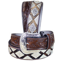 U-8-42 42 Inch Western Nocona Leather Mens Belt Hair Diamond Conchos Dark Brown - $79.95