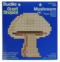 "Yarn Art Shape Mushroom 4.25"" Tall Pre Cut Plastic Canvas Art Craft Buci... - $9.79"