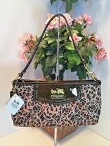 Coach Madison Ocelot Op Art Large Wristlet Bag 45951 Brown Cheetah Satee... - $77.39