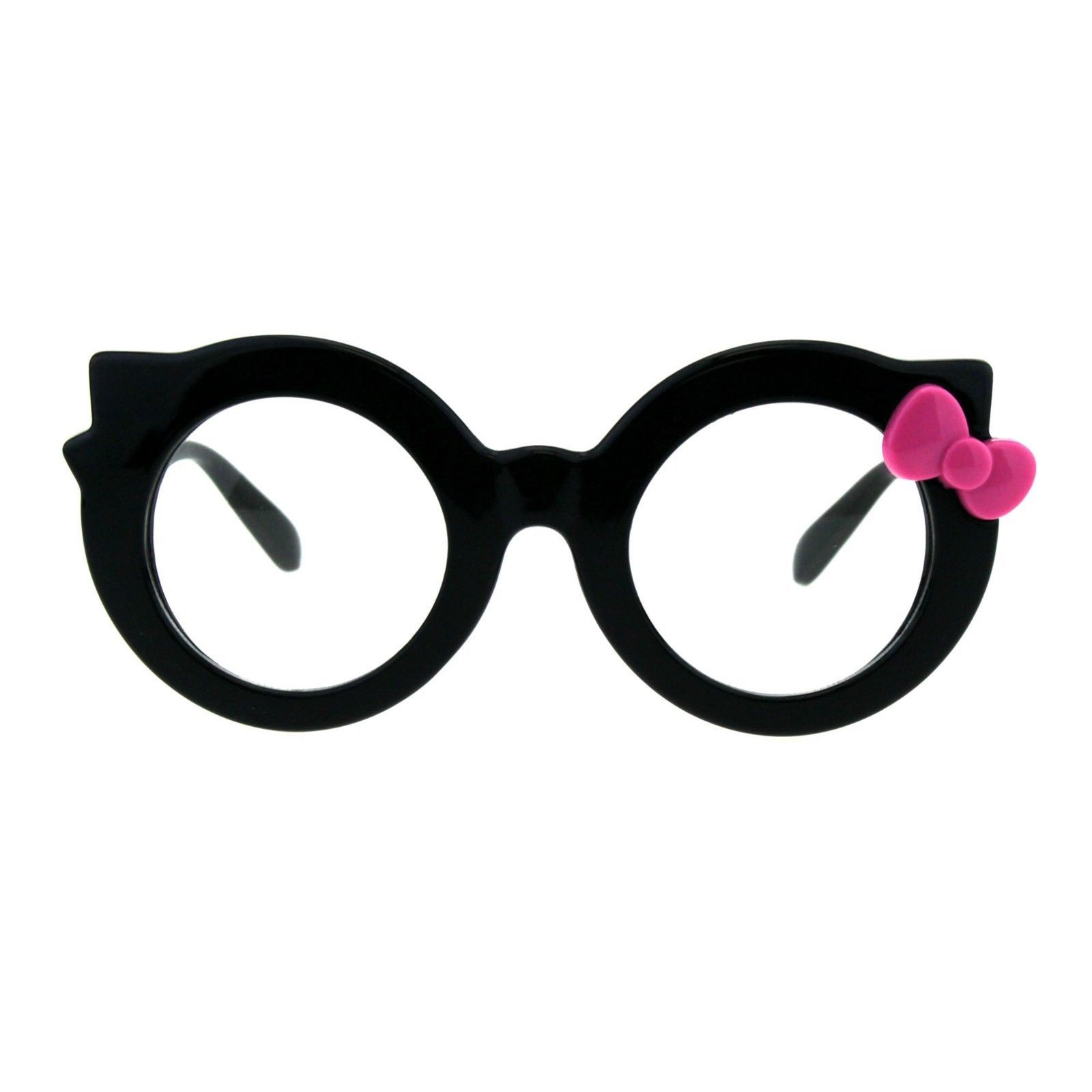 Black Round Cateye Clear Lens Glasses Ribbon Bow Womens Girly Eyeglasses