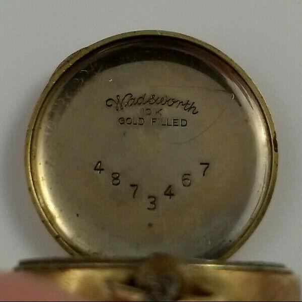 vtg WADSWORTH RELGIS HELBROS W & CO 15j 10k GOLD FILLED POCKET WATCH Swiss rare image 9