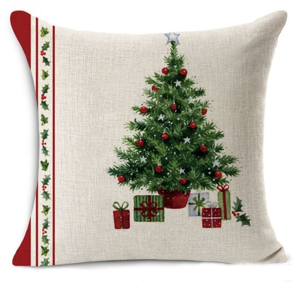 Merry Christmas Decoration Pillow Covers 4 Pieces Linen 18x18 Inches Christmas