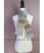 Short Scarf Self Striping Variegated Blues and Browns Mix 40 Inch Knitte... - $20.00