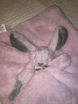 Blankets & Beyond Pink Bunny Gray Ears Pacifier Baby Lovey Security Blanket - $12.86