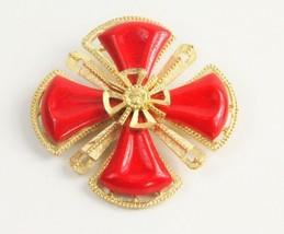 ESTATE Jewelry VINTAGE RED MALTESE CROSS BROOCH HIGH END - $35.00