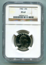 1962 WASHINGTON QUARTER NGC PF67 PROOF NICE ORIGINAL COIN SUPER PREMIUM ... - $22.00
