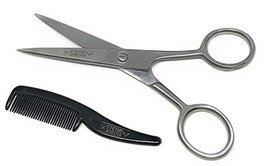 BEST DEAL Beard and Mustache Scissors w/Comb and Synthetic Leather Case Professi image 2
